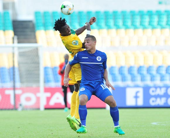 Fagrie Lakay of Supersport United challenged by Eric Ilamba Biyeme of CF Mounana during the 2017 CAF Confederation Cup match between CF Mounana and Supersport United at the Libreville Stadium in Gabon on 23 May 2017 ©Samuel Shivambu/BackpagePix