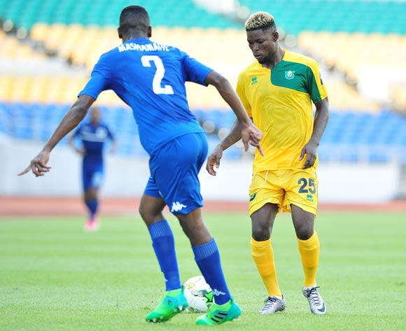 Abdou Djamilou Atchabao of CF Mounana challenged by Tefu Mashamaite of Supersport United during the 2017 CAF Confederation Cup match between CF Mounana and Supersport United at the Libreville Stadium in Gabon on 23 May 2017 ©Samuel Shivambu/BackpagePix