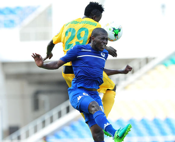 Aubrey Modiba of Supersport United challenged by Karl Mboudou of CF Mounana during the 2017 CAF Confederation Cup match between CF Mounana and Supersport United at the Libreville Stadium in Gabon on 23 May 2017 ©Samuel Shivambu/BackpagePix