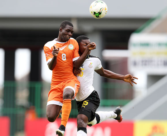 Habibou Sofiane of Niger challenged by Faisal Osman of Ghana during the 2017 Under 17 Africa Cup of Nations Finals Ghana and Niger at the Port Gentil Stadium, Gabon on 24 May 2017 ©Muzi Ntombela/BackpagePix