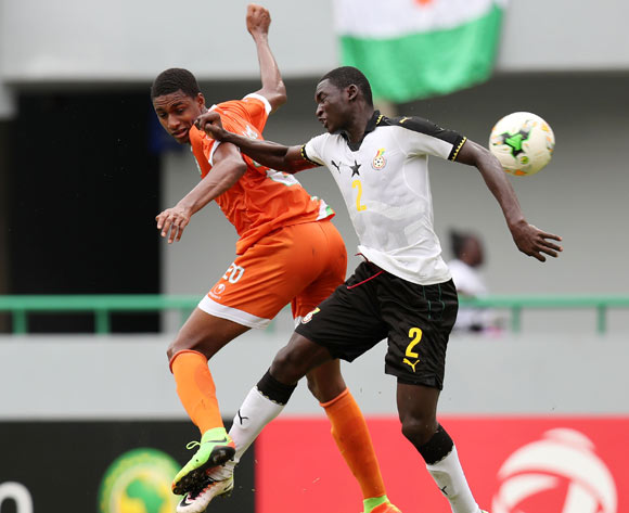Hamid Galissoune Ajina of Niger challenged by John Otu of Ghana during the 2017 Under 17 Africa Cup of Nations Finals Ghana and Niger at the Port Gentil Stadium, Gabon on 24 May 2017 ©Muzi Ntombela/BackpagePix