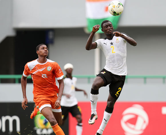 John Otu of Ghana clears ball from Hamid Galissoune Ajina of Niger during the 2017 Under 17 Africa Cup of Nations Finals Ghana and Niger at the Port Gentil Stadium, Gabon on 24 May 2017 ©Muzi Ntombela/BackpagePix