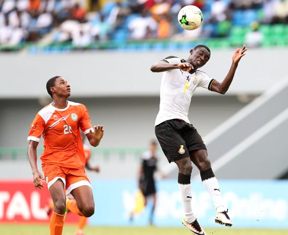 John Otu of Ghana challenged by Hamid Galissoune Ajina of Niger during the 2017 Under 17 Africa Cup of Nations Finals Ghana and Niger at the Port Gentil Stadium, Gabon on 24 May 2017 ©Muzi Ntombela/BackpagePix