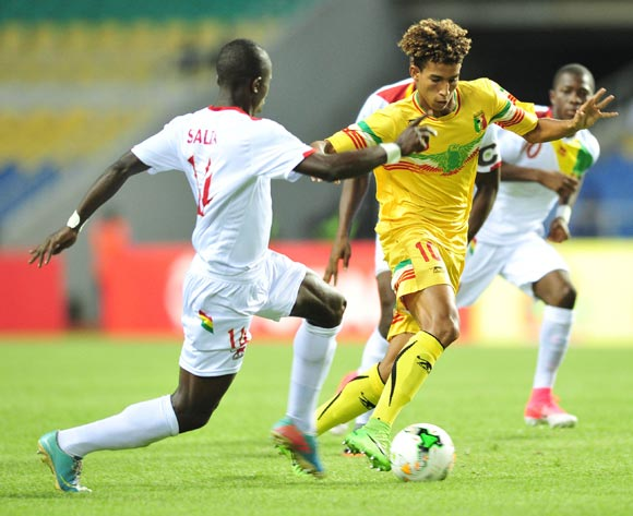 Abdoul Salam Jiddou of Mali challenged by Salia Bangoura of Guinea during the 2017 Under 17 Africa Cup of Nations Finals match between Mali and Guinea at the Libreville Stadium in Gabon on 24 May 2017 ©Samuel Shivambu/BackpagePix