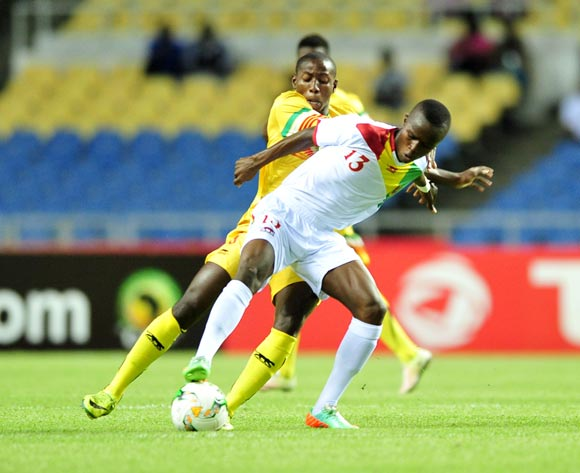 Seydouba Cisse of Guinea challenged by Mohamed Camara of Mali during the 2017 Under 17 Africa Cup of Nations Finals match between Mali and Guinea at the Libreville Stadium in Gabon on 24 May 2017 ©Samuel Shivambu/BackpagePix