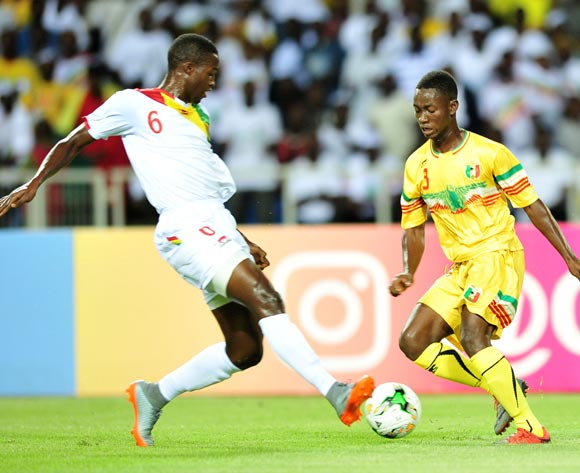 Djemoussa Traore of Mali challenged by Sekou Camara of Guinea during the 2017 Under 17 Africa Cup of Nations Finals match between Mali and Guinea at the Libreville Stadium in Gabon on 24 May 2017 ©Samuel Shivambu/BackpagePix