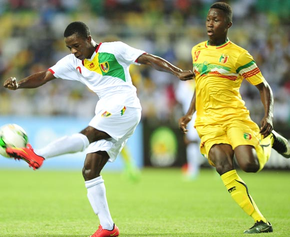 Samuel Conte of Guinea challenged by Lassana Ndiaye of Mali during the 2017 Under 17 Africa Cup of Nations Finals match between Mali and Guinea at the Libreville Stadium in Gabon on 24 May 2017 ©Samuel Shivambu/BackpagePix