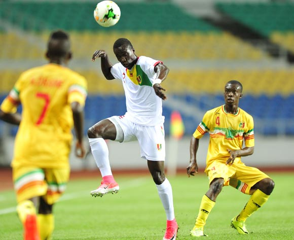 Djibril Fandje Toure of Guinea challenged by Fode Konate of Mali during the 2017 Under 17 Africa Cup of Nations Finals match between Mali and Guinea at the Libreville Stadium in Gabon on 24 May 2017 ©Samuel Shivambu/BackpagePix