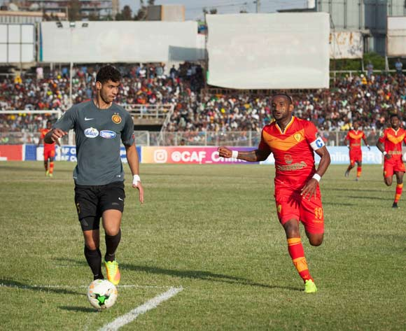 Chamseddine Dhaouadi (L) of Tunisian football club Esperance Tunis and Adane Girma (R) of Ethiopian football club Saint George vie for the ball during the CAF Champions League match in Addis Ababa, Ethiopia, 23 May 2017.