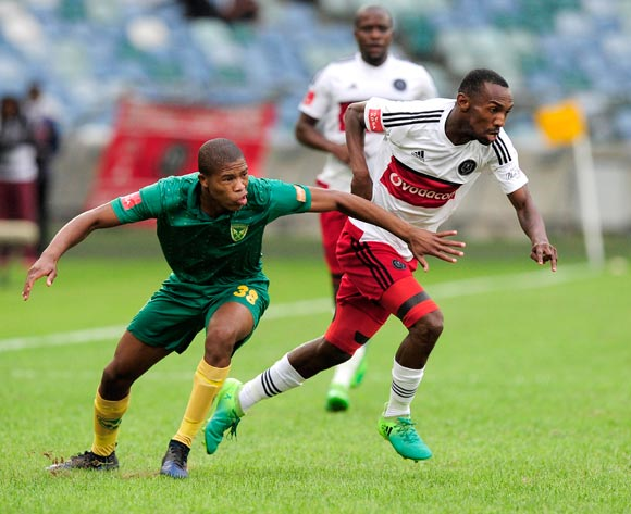 Thabo Rakhale of Orlando Pirates changes direction to go past the defence of Romario Dlamini of Lamontville Golden Arrows during the Absa Premiership 2016/17 game between Golden Arrows and Orlando Pirates at Moses Mabhida Stadium, Durban on 27 May 2017 © Gerhard Duraan/BackpagePix