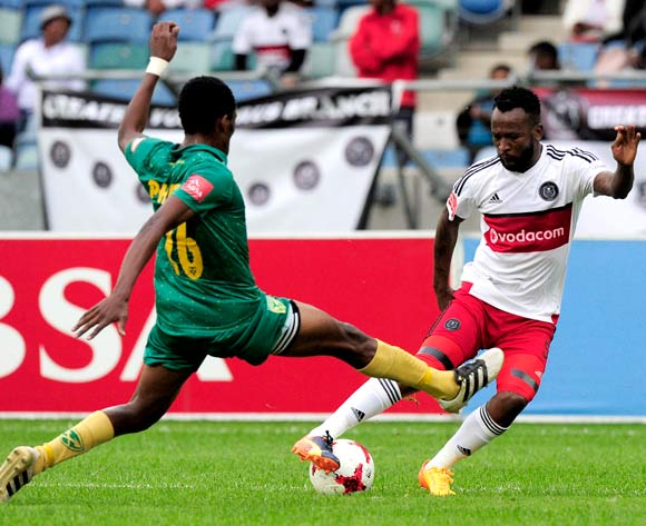 Mpho Makola of Orlando Pirates changes direction as Danny Phiri of Lamontville Golden Arrows flies in to defend during the Absa Premiership 2016/17 game between Golden Arrows and Orlando Pirates at Moses Mabhida Stadium, Durban on 27 May 2017 © Gerhard Duraan/BackpagePix