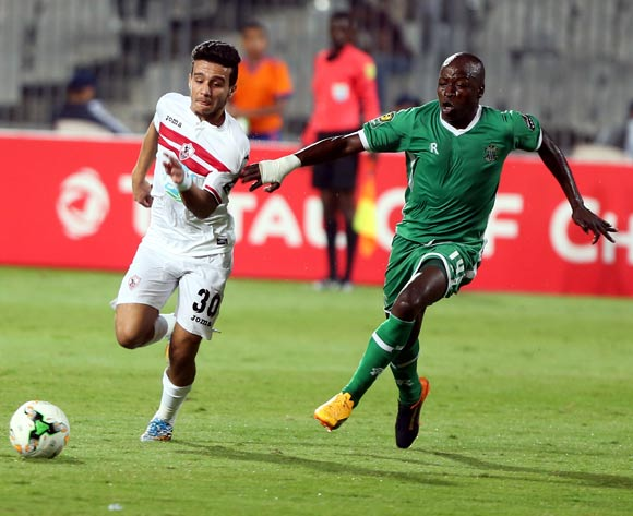 Al-Zamalek player Mostafa Fathy (L) in action against Caps United player Devon Chafa (R) during the African Champions League (CAF) Round of 16 match between Al-Zamalek and Caps United at at Borg Al Arab Stadium in Alexandria , Egypt, 12 May 2017