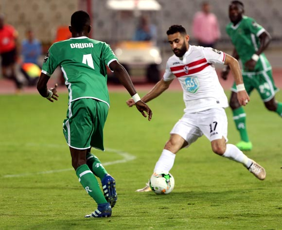 Al-Zamalek player Basem Morsi  (R) in action against Caps United player Dennis Dauda (L) during the African Champions League (CAF) Round of 16 match between Al-Zamalek and Caps United at at Borg Al Arab Stadium in Alexandria , Egypt, 12 May 2017