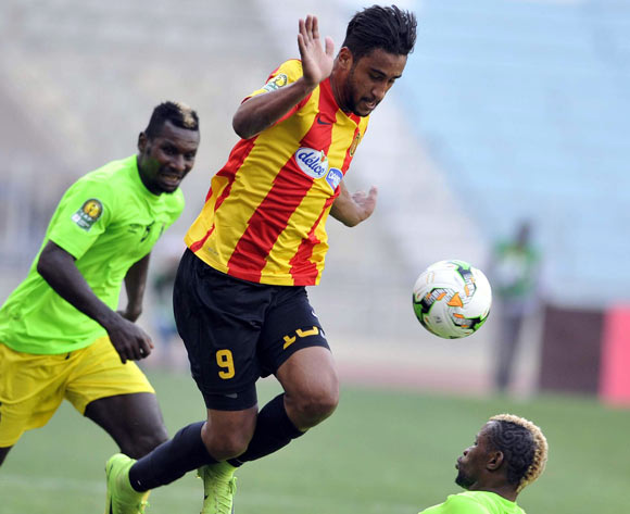 Mejri Bilel (L) of Esperance Tunis vies for the ball with Mutambala Lomalisa (R) AS Vita Club during the CAF Champions League match between Esperance Tunis and AS Vita Club in Tunis, Tunisia, 12 May 2017