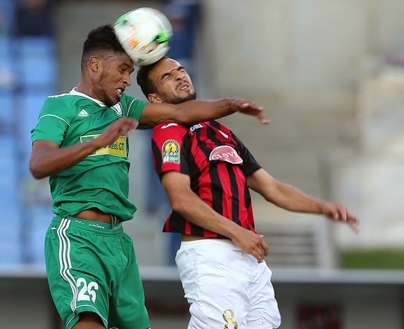 Beldjilali Rafik (R) of USM Alger vies for the ball with Saltou Anis (L) of Al Ahly Tripoli during the CAF Champions League match between USM Alger and Al Ahly Tripoli in Algiers, Algeria, 12 May 2017