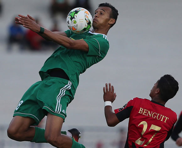 Abderaouf Benguit (R) of USM Alger vies for the ball with Saltou Anis (L) of Al Ahly Tripoli during the CAF Champions League match between USM Alger and Al Ahly Tripoli in Algiers, Algeria, 12 May 2017