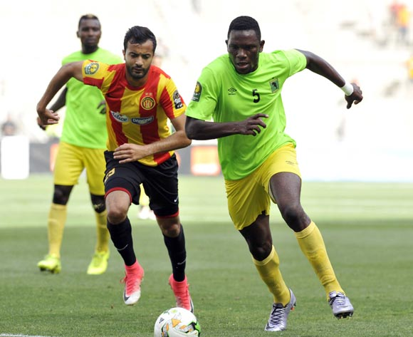 Khenissi Taha Yassine  (L) of Esperance Tunis vies for the ball with Ondo Francisco (R) AS Vita Club during the CAF Champions League match between Esperance Tunis and AS Vita Club in Tunis, Tunisia, 12 May 2017
