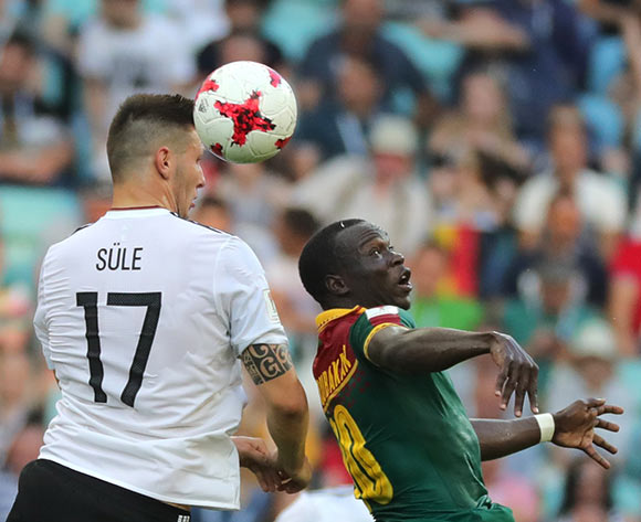 epa06049842 Vincent Aboubakar (R) of Cameroon and Niklas Suele of Germany in action during the FIFA Confederations Cup 2017 group B soccer match between Germany and Cameroon at the Fisht Stadium in Sochi, Russia, 25 June 2017.  EPA/ARMANDO BABANI