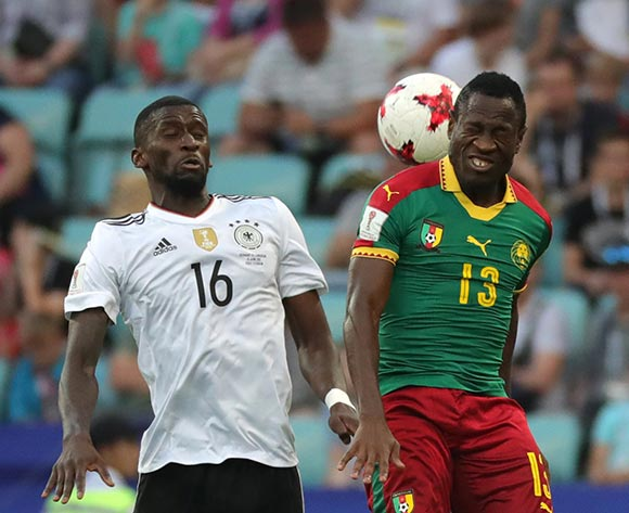 epa06049960 Christian Bassogog (R) of Cameroon and Antonio Ruediger of Germany in action during the FIFA Confederations Cup 2017 group B soccer match between Germany and Cameroon at the Fisht Stadium in Sochi, Russia, 25 June 2017.  EPA/ARMANDO BABANI