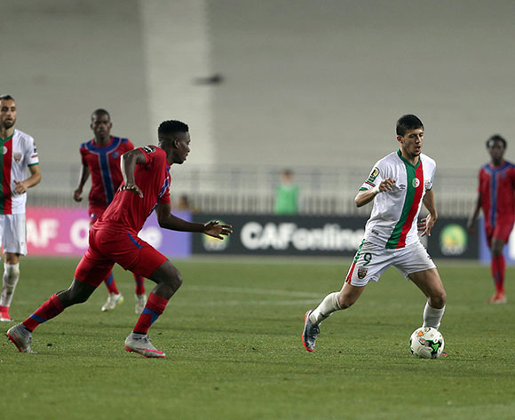 Mouloudia Club D'Alger player Hichem Nekkache (R)in action during the 2017 CAF Confederations Cup game between Mouloudia Club D'Alger and Mbabane Swallows at Stade 5 Juillet 1962 in Algiers, Algeria on 20 June 2017 © BackpagePix