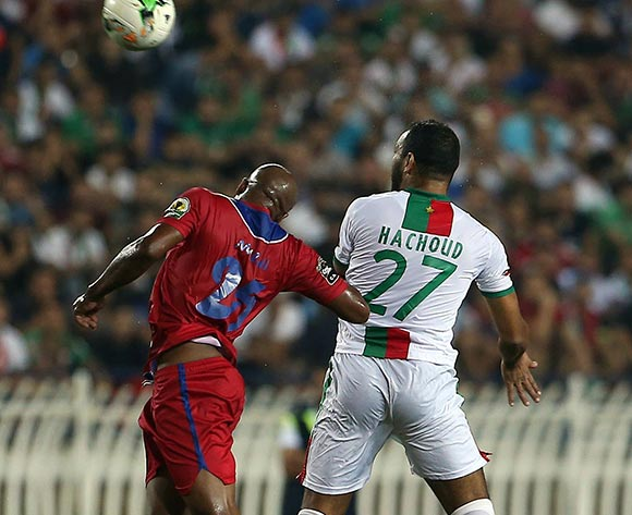 Mouloudia Club D'Alger player Abderrahmane Hachoud   (R) fights for the ball with Mbabane Swallows player  Siyabonga Lwazi Mdluli (L) during the 2017 CAF Confederations Cup game between Mouloudia Club D'Alger and Mbabane Swallows at Stade 5 Juillet 1962 in Algiers, Algeria on 20 June 2017 © BackpagePix