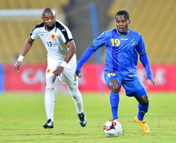 Mzamiru Said of Tanzania challenged by Eduardo Da Cruz Leite of Angola during the Cosafa Castle Cup match between Angola and Tanzania at the Royal Bafokeng Stadium in Rustenburg on 27 June 2017 ©Samuel Shivambu/BackpagePix