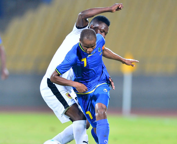 Himid Mkami of Tanzania challenged by Joao Manha of Angola during the Cosafa Castle Cup match between Angola and Tanzania at the Royal Bafokeng Stadium in Rustenburg on 27 June 2017 ©Samuel Shivambu/BackpagePix