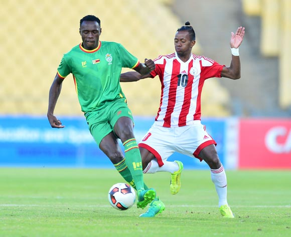 Liberty Chakoroma of Zimbabwe challenged by Andriamirado Andrianarimanana of Madagascar during the Cosafa Castle Cup match between Zimbabwe and Madagascar at the Royal Bafokeng Stadium in Rustenburg on 28 June 2017 ©Samuel Shivambu/BackpagePix