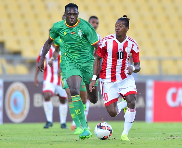 Liberty Chakoroma of Zimbabwe challenged by Andriamirado Andrianarimanana during the Cosafa Castle Cup match between Zimbabwe and Madagascar at the Royal Bafokeng Stadium in Rustenburg on 28 June 2017 ©Samuel Shivambu/BackpagePix