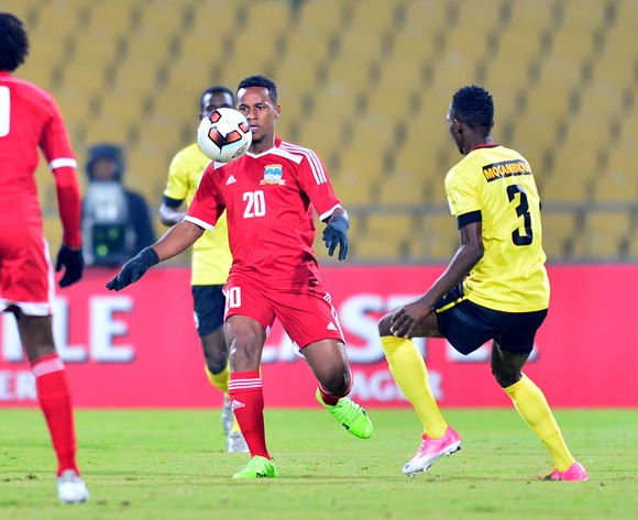 Rashim Padayachy of Seychelles challenged by Francisco Simbine of Mozambique during the Cosafa Castle Cup match between Seychelles and Mozambique at the Royal Bafokeng Stadium in Rustenburg on 28 June 2017 ©Samuel Shivambu/BackpagePix
