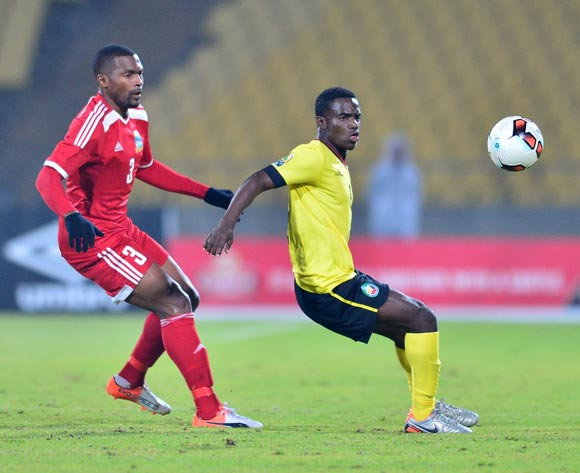 Joao Simango of Mozambique challenged by Bertrand Esther of Seychelles during the Cosafa Castle Cup match between Seychelles and Mozambique at the Royal Bafokeng Stadium in Rustenburg on 28 June 2017 ©Samuel Shivambu/BackpagePix