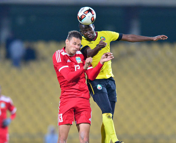 Karl Hall of Seychelles challenged by Abilio Maucuona of Mozambique during the Cosafa Castle Cup match between Seychelles and Mozambique at the Royal Bafokeng Stadium in Rustenburg on 28 June 2017 ©Samuel Shivambu/BackpagePix