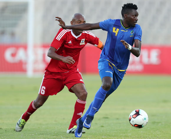 Erasto Edward Nyoni of Tanzania challenged by Peter Colin Bell of Mauritius during the 2017 Cosafa Castle Cup match between Tanzania and Mauritius at the Moruleng Stadium, Rustenburg South Africa on 29 June 2017 ©Muzi Ntombela/BackpagePix