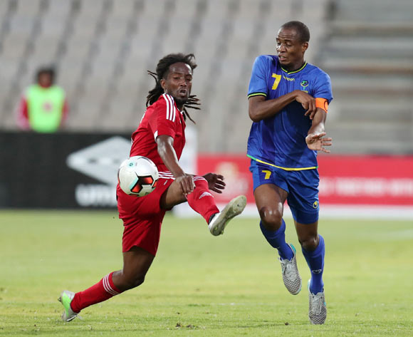 Laval Jesson Rungassamy of Mauritius challenges Erasto Edward Nyoni of Tanzania during the 2017 Cosafa Castle Cup match between Tanzania and Mauritius at the Moruleng Stadium, Rustenburg South Africa on 29 June 2017 ©Muzi Ntombela/BackpagePix