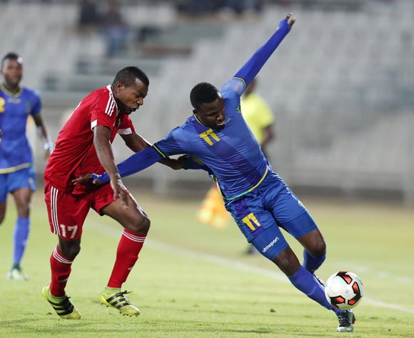 Thomas Ulimwengu of Tanzania fouled by Walter Martin of Mauritius during the 2017 Cosafa Castle Cup match between Tanzania and Mauritius at the Moruleng Stadium, Rustenburg South Africa on 29 June 2017 ©Muzi Ntombela/BackpagePix