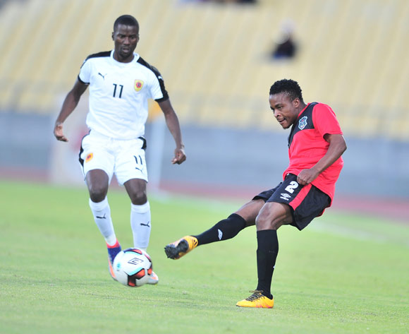 Stanley Sanudi of Malawi challenged by Ricardo Estevao of Angola during the 2017 Cosafa Castle Cup match between Malawi and Angola at Royal Bafokeng Stadium, Rustenburg South Africa on 29 June 2017 ©Samuel Shivambu/BackpagePix