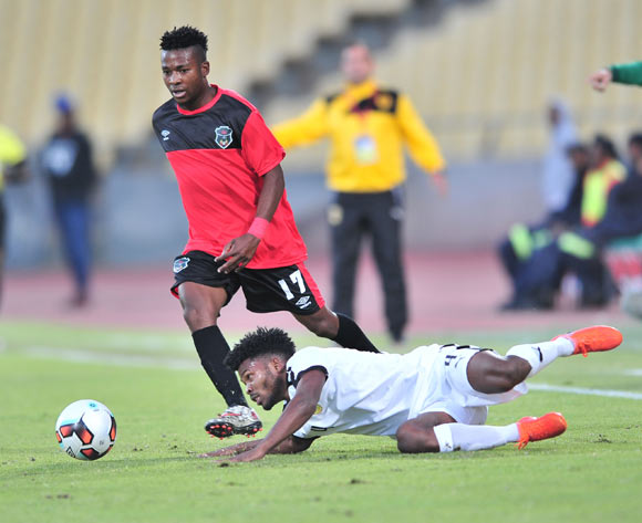 Augusto Carneiro of Angola challenged by Levison Maganizo of Malawi during the 2017 Cosafa Castle Cup match between Malawi and Angola at Royal Bafokeng Stadium, Rustenburg South Africa on 29 June 2017 ©Samuel Shivambu/BackpagePix