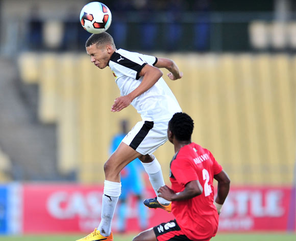 Yamikani Chestero of Angol challenged by Stanley Sanudi of Malawi during the 2017 Cosafa Castle Cup match between Malawi and Angola at Royal Bafokeng Stadium, Rustenburg South Africa on 29 June 2017 ©Samuel Shivambu/BackpagePix