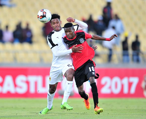 Dalisto Sailesi of Malawi challenged by Nelson Da Luz of Angola during the 2017 Cosafa Castle Cup match between Malawi and Angola at Royal Bafokeng Stadium, Rustenburg South Africa on 29 June 2017 ©Samuel Shivambu/BackpagePix