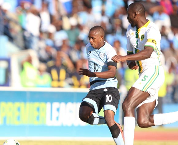 Onkabetse Makgantai of Botswana andAbdoul Bocar Ba of Mauritania during the game between Botswana and Mauritania on 10 June 2017 at Francistown Stadium,Botswana ©/BackpagePix