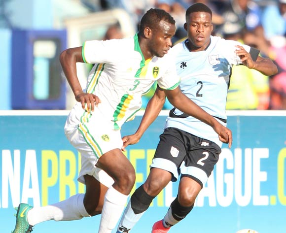 Abeid Aly of Mauritania and Tapiwa Gadibolae of Botswana during the game between Botswana and Mauritania on 10 June 2017 at Francistown Stadium,Botswana ©/BackpagePix