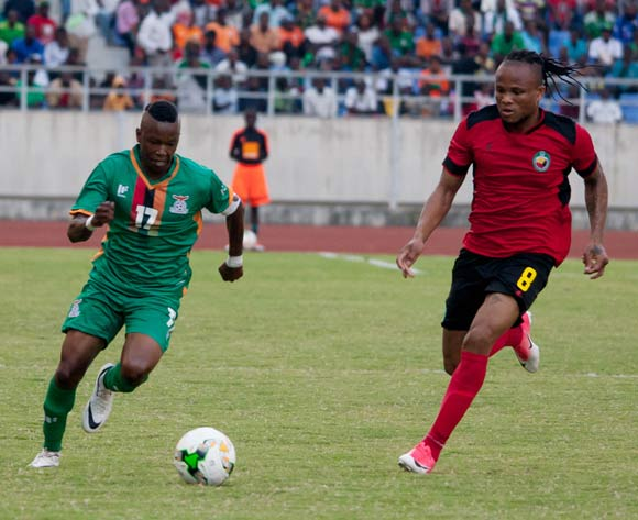 Rainford Kalaba of Zambia tries to beat Edimilson Dove of Mozambique during the game between Zambia and Mozambique on 10 June 2017 at Levy Mwanawasa Stadium,Zambia ©/BackpagePix