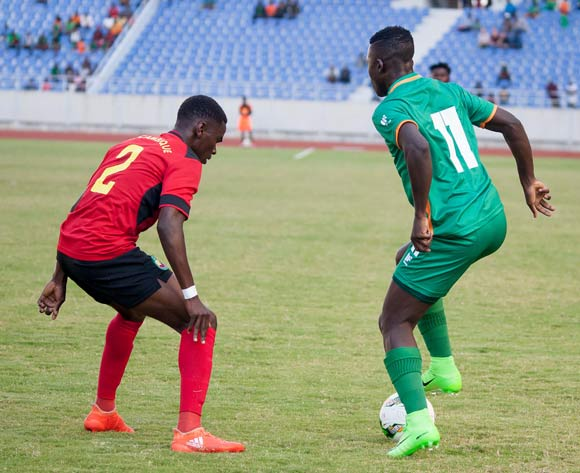 Chisamba Lungu of Zambia tries to dribble past Bheu Januario of Mozambique during the match played at Levy Mwanawasa Stadium during the game between Zambia and Mozambique on 10 June 2017 at Levy Mwanawasa Stadium,Zambia ©/BackpagePix