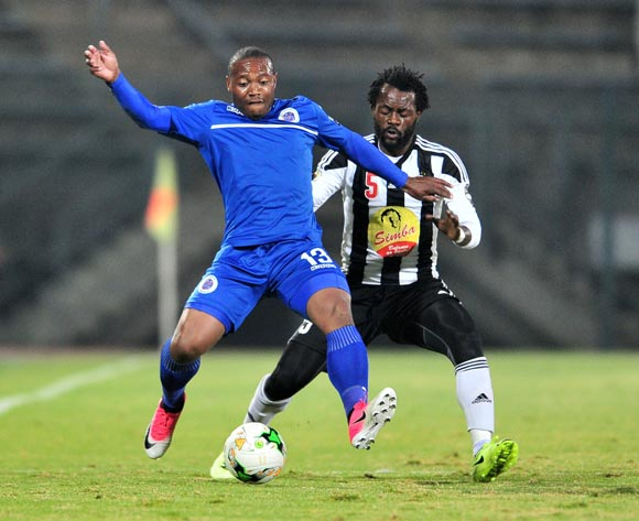 Thuso Phala of Supersport United challenged by Issama Mpeko of TP Mazembe during the Caf Confederation Cup match between Supersport United and TP Mazembe at the Lucas Moripe Stadium in Pretoria on 20 June 2017 ©Samuel Shivambu/BackpagePix