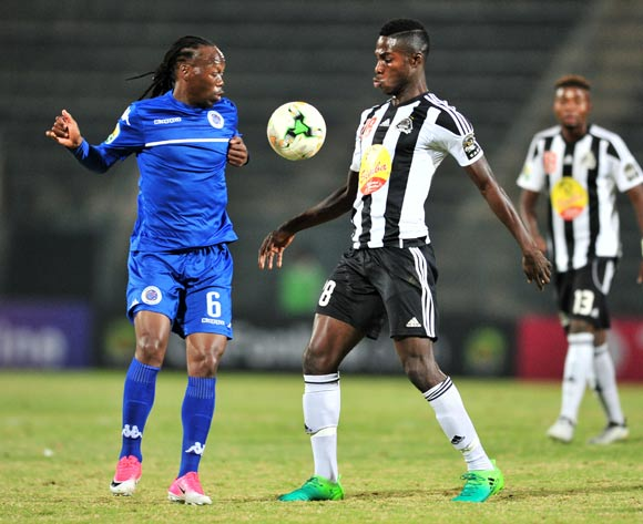 Ben Ngita of TP Mazembe challenged by Reneilwe Letsholonyane of Supersport United during the Caf Confederation Cup match between Supersport United and TP Mazembe at the Lucas Moripe Stadium in Pretoria on 20 June 2017 ©Samuel Shivambu/BackpagePix