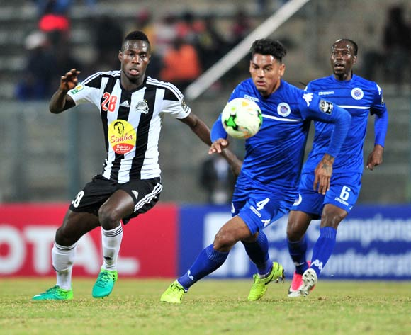 Ben Ngita of TP Mazembe challenged by Clayton Daniels of Supersport United during the Caf Confederation Cup match between Supersport United and TP Mazembe at the Lucas Moripe Stadium in Pretoria on 20 June 2017 ©Samuel Shivambu/BackpagePix
