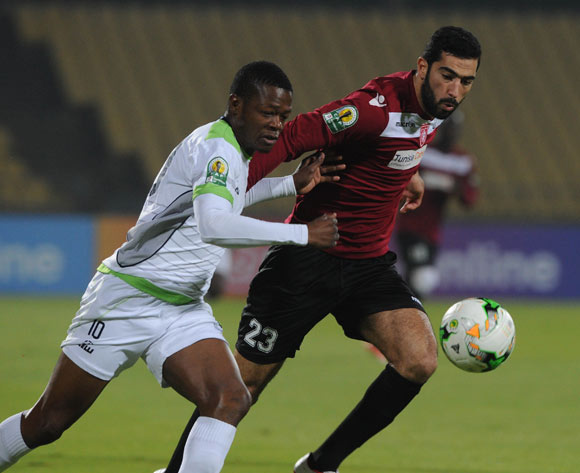 Meriah Yassine of CS Sfaxien challenges Ndumiso Mabena of Platinum Stars during the CAF Confederation Cup match between Platinum Stars and CS Sfaxien on 21 June 2017 at Royal Bafokeng Stadium  © Sydney Mahlangu /BackpagePix