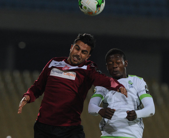 Ala Marzougui of CS Sfaxien challenges Ndumiso Mabena of Platinum Stars during the CAF Confederation Cup match between Platinum Stars and CS Sfaxien on 21 June 2017 at Royal Bafokeng Stadium  © Sydney Mahlangu /BackpagePix