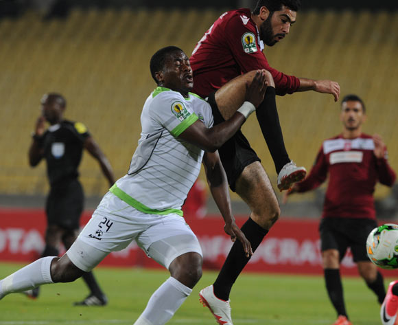 Meriah Yassine of CS Sfaxien challenges Bonginkosi Ntuli of Platinum Stars during the CAF Confederation Cup match between Platinum Stars and CS Sfaxien on 21 June 2017 at Royal Bafokeng Stadium  © Sydney Mahlangu /BackpagePix