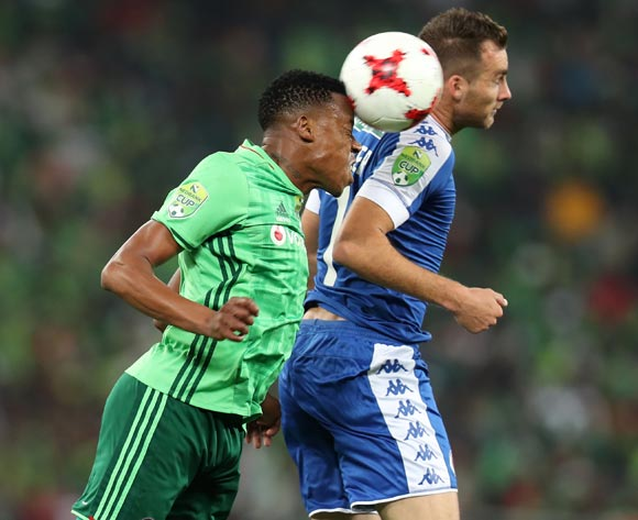 Happy Jele of Orlando Pirates clears ball from Bradley Grobler of Supersport United during the 2017 Nedbank Cup Final match between Supersport United and Orlando Pirates at the Moses Mabhida Stadium, Durban South Africa on 24 June 2017 ©Muzi Ntombela/BackpagePix